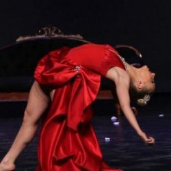 Lauren Lerant featured the past in red dress.