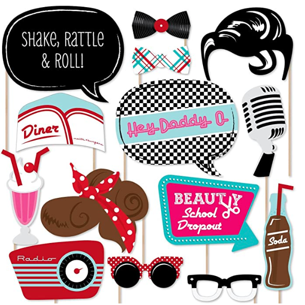 50's Sock Hop Photo Booth Props Kit from Amazon